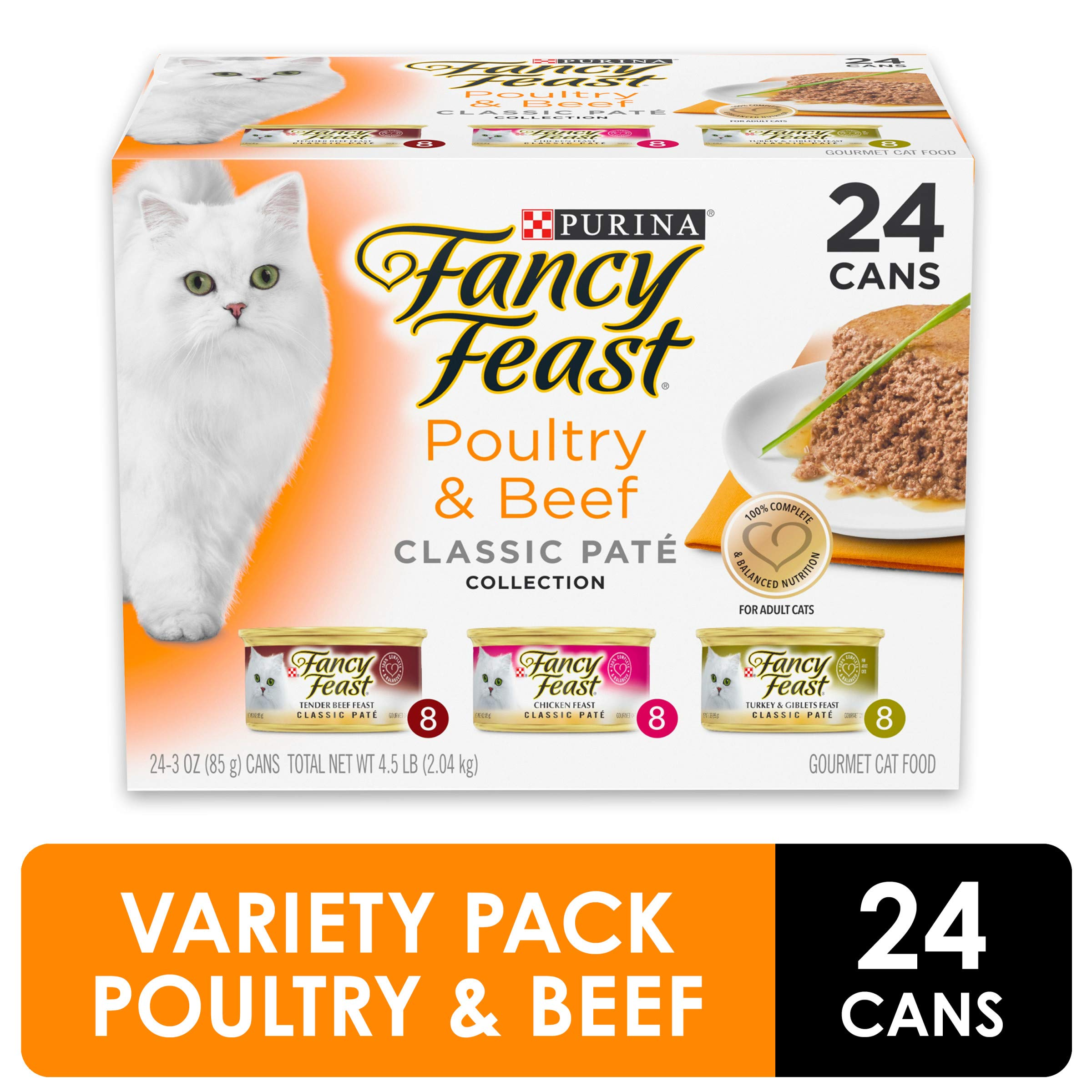Purina Fancy Feast Grain Free Pate Wet Cat Food Variety Pack, Poultry & Beef Collection - (24) 3 oz. Cans by Purina Fancy Feast