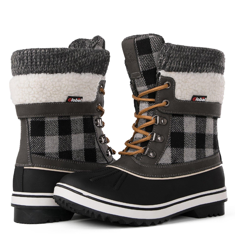 Globalwin Women's Waterproof Winter Snow Boots (9 D(M) US Women's, Black/Grey1738)