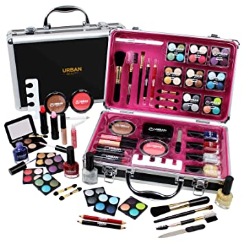 Attractive Professional Vanity Case Cosmetic Make Up Urban Beauty Box Travel Carry  Gift 57 Piece Storage Organizer