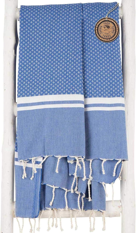 SOLTAKO XXL 2 X fouta telo mare asciugamano sauna asciugamano hammam yoga coperta pestemal in blu reale e grigio argento come set regalo da 2 pezzi extra large 100 x 200 cm