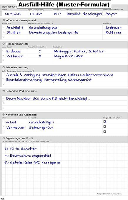 Bautagebuch Baustellenbericht Bautagebuch Bau Ausdrucken
