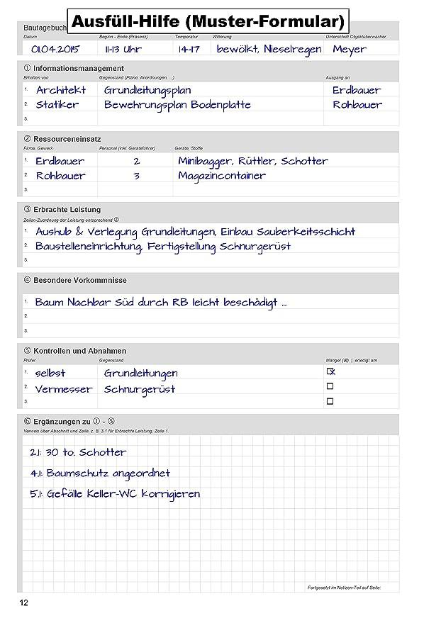 bautagebuch ein formularbuch fr die baustelle amazonde brobedarf schreibwaren - Bautagebuch Muster