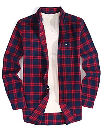 db17b20393c118 Mens Casual Button Down Dress Shirt Long Sleeve Flannel Shirts Regular Fit ( Flannel-navyred