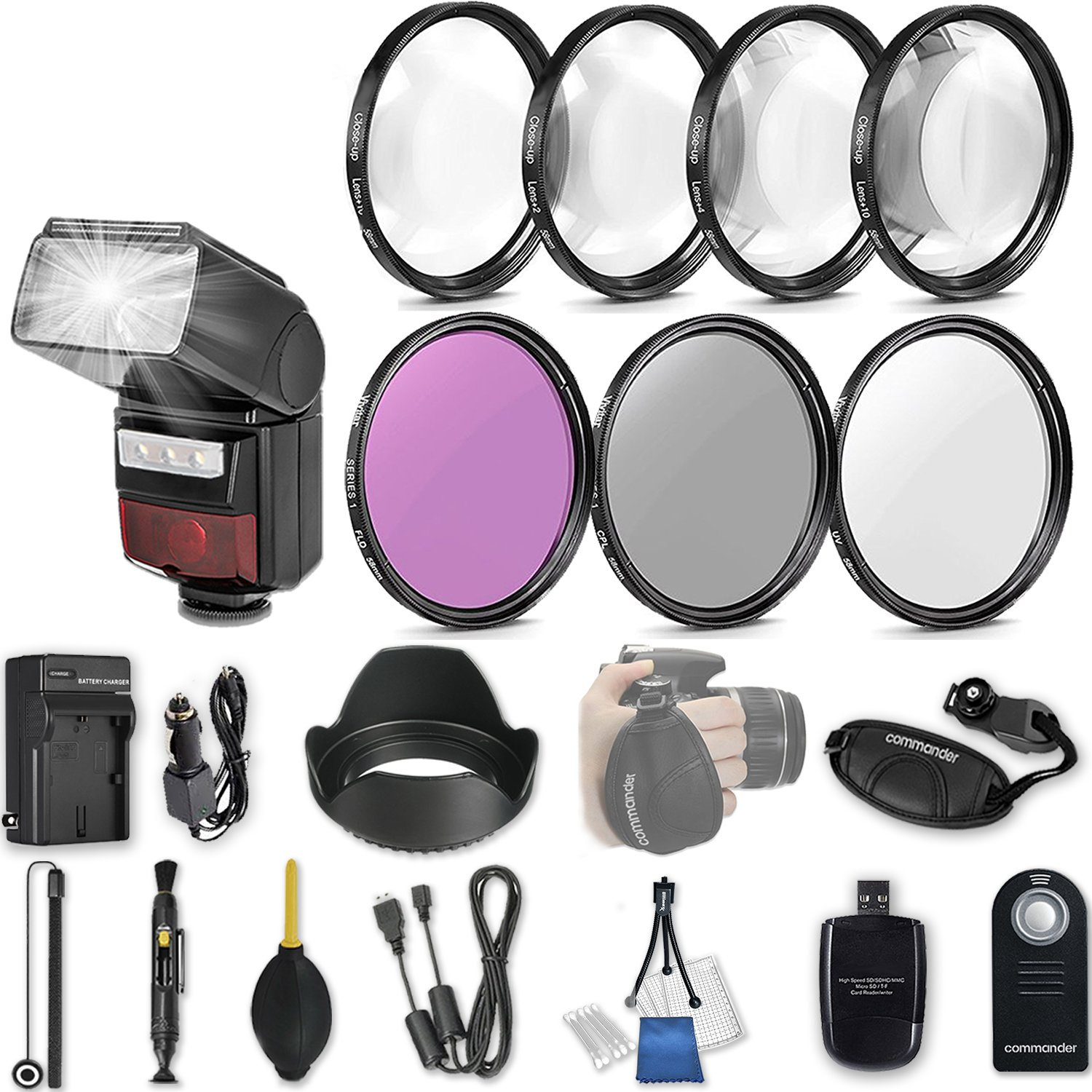 58mm 21 Pc Accessory Kit for Canon EOS T6i, T7i, 77D, T6s, 750D, 800D, 760D DSLRs with LED-Flash, UV CPL FLD Filters, & 4 Piece Macro Close-Up Set, and More by 33rd Street