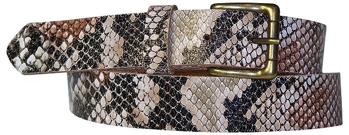 Fronhofer Ceinture Python pour femme 3 cm ceinture cuir effet serpent avec  une boucle couleur laiton 5126656f260