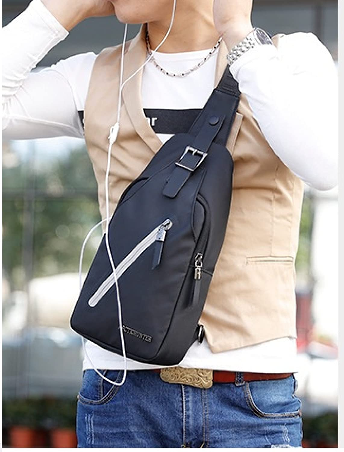 NaSUMTUO Mens Sling Bag Headphone Port Waterproof Crossbody Shoulder Bag Outdoor Cycling Messenger Chest Bag Black