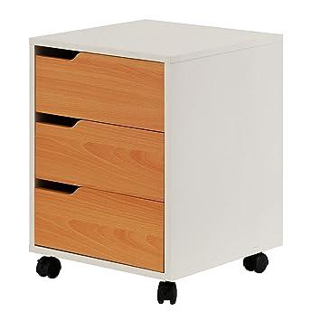 hjh OFFICE 674350 archivador con Ruedas Organiser Haya/Blanco 3 cajones archivador de Oficina: Amazon.es: Hogar