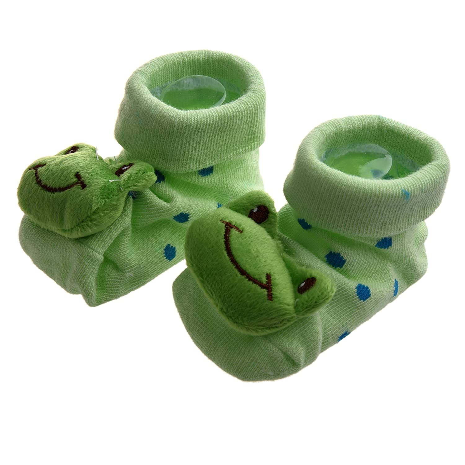 SODIAL(R) Green Frog - Irresistibly Cute Baby Boy Girl 3D Bootie Socks Anti / Non Slip 0-12 months 007686