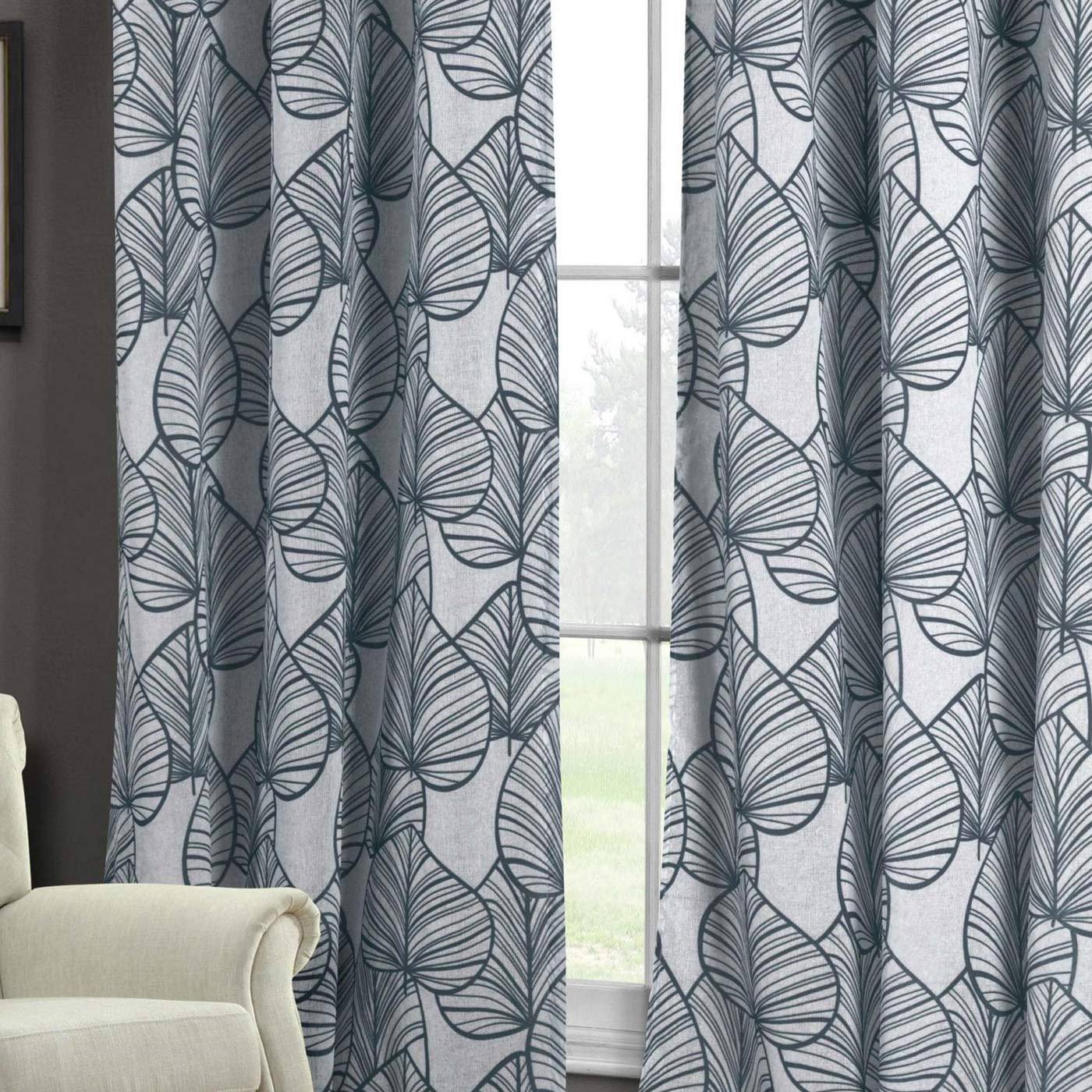 38 X 84 Inch - Indigo Blue Home Fashion Faux Linen Floral Leaf Grommet Top Window Curtains for Living Room /& Bedroom Duck River Textiles Assorted Colors Set of 2 Panels