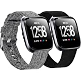 Welltin 2 Pack Bands Compatible with Fitbit Versa/Fitbit Versa 2 / Fitbit Versa Lite for Women Men, Breathable Woven…