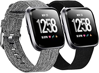 Welltin 2 Pack Bands Compatible with Fitbit Versa/Fitbit Versa 2 / Fitbit Versa Lite for Women Men, Breathable Woven Fabric Strap, Adjustable Replacement Wristband for Fitbit Versa Smart Watch