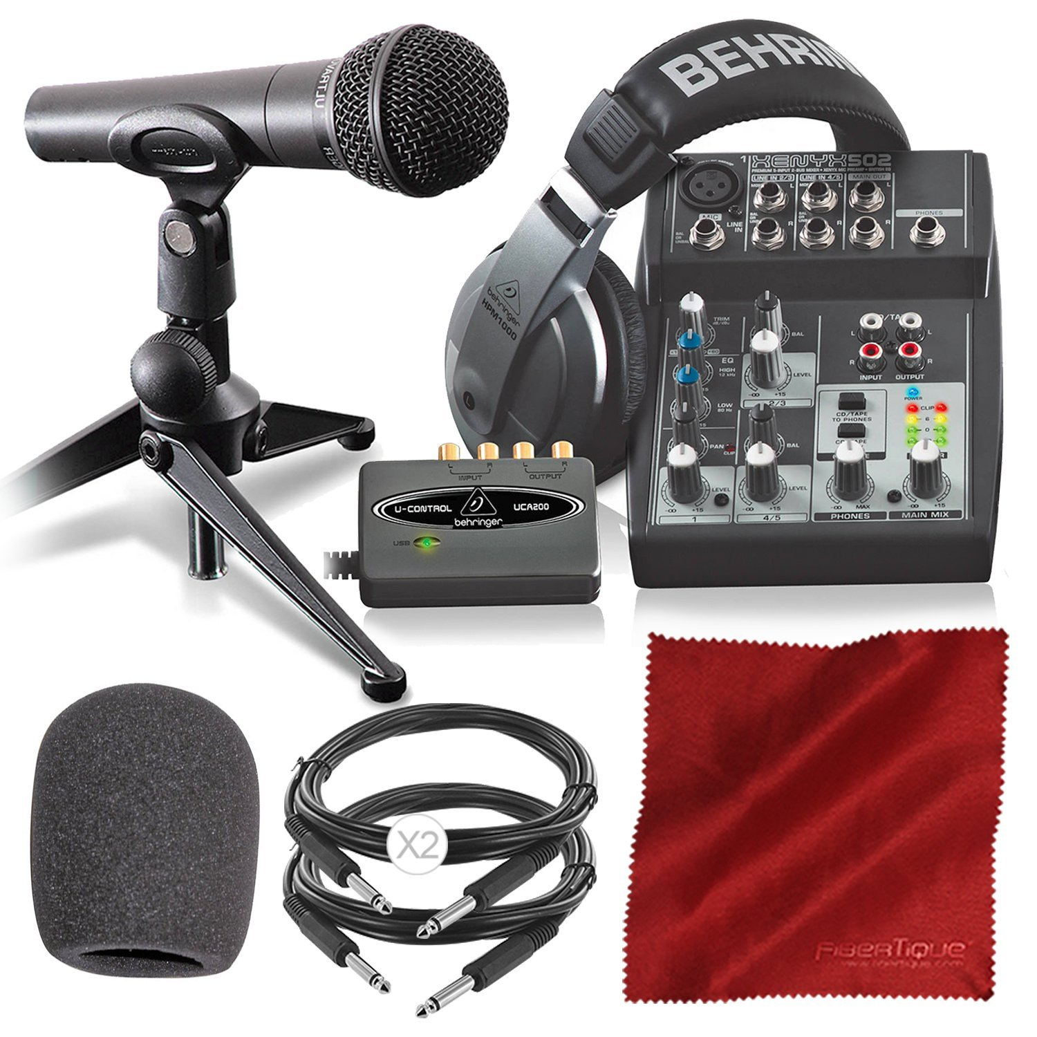 Behringer PODCASTUDIO USB Complete Podcasting Kit w/USB Audio Interface Basic Accessory Bundle Photo Savings