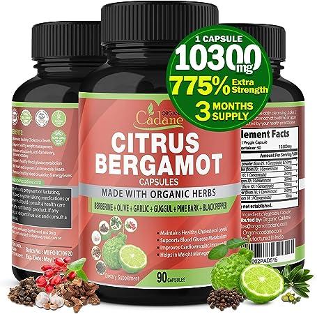 Citrus Bergamot Extract Capsules 10300mg & Berberine, Olive, Guggul, Garlic, Pine Bark, Black Pepper | High Cholesterol Levels Lowering Supplements | Promotes Blood Sugar Pressure, 3 Months Supply