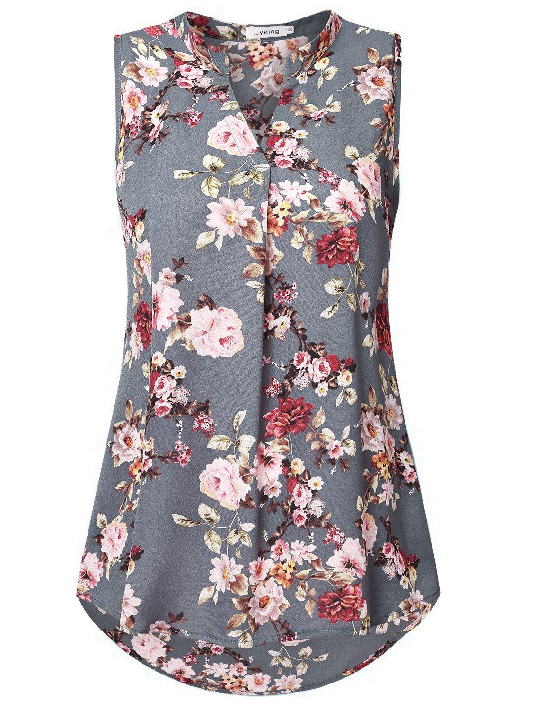 Lyking Women's Henley V Neck Sleeveless Curved Hem Chiffon Blouse Shirts Tank Tops(XXL,Floral Grey) by Lyking (Image #1)