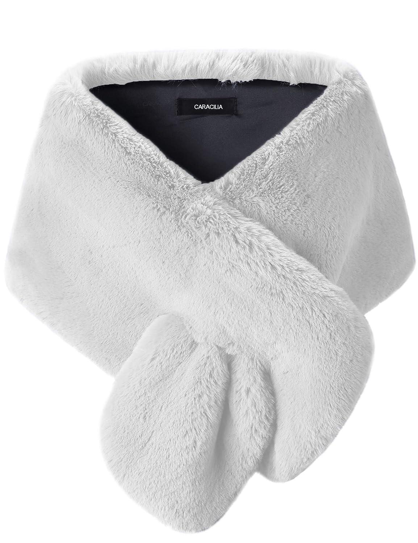 White Caracilia Women's Faux Fur Shawl Wraps Stole Cloak Coat Sweater Cape for Evening Party Bridal Wedding