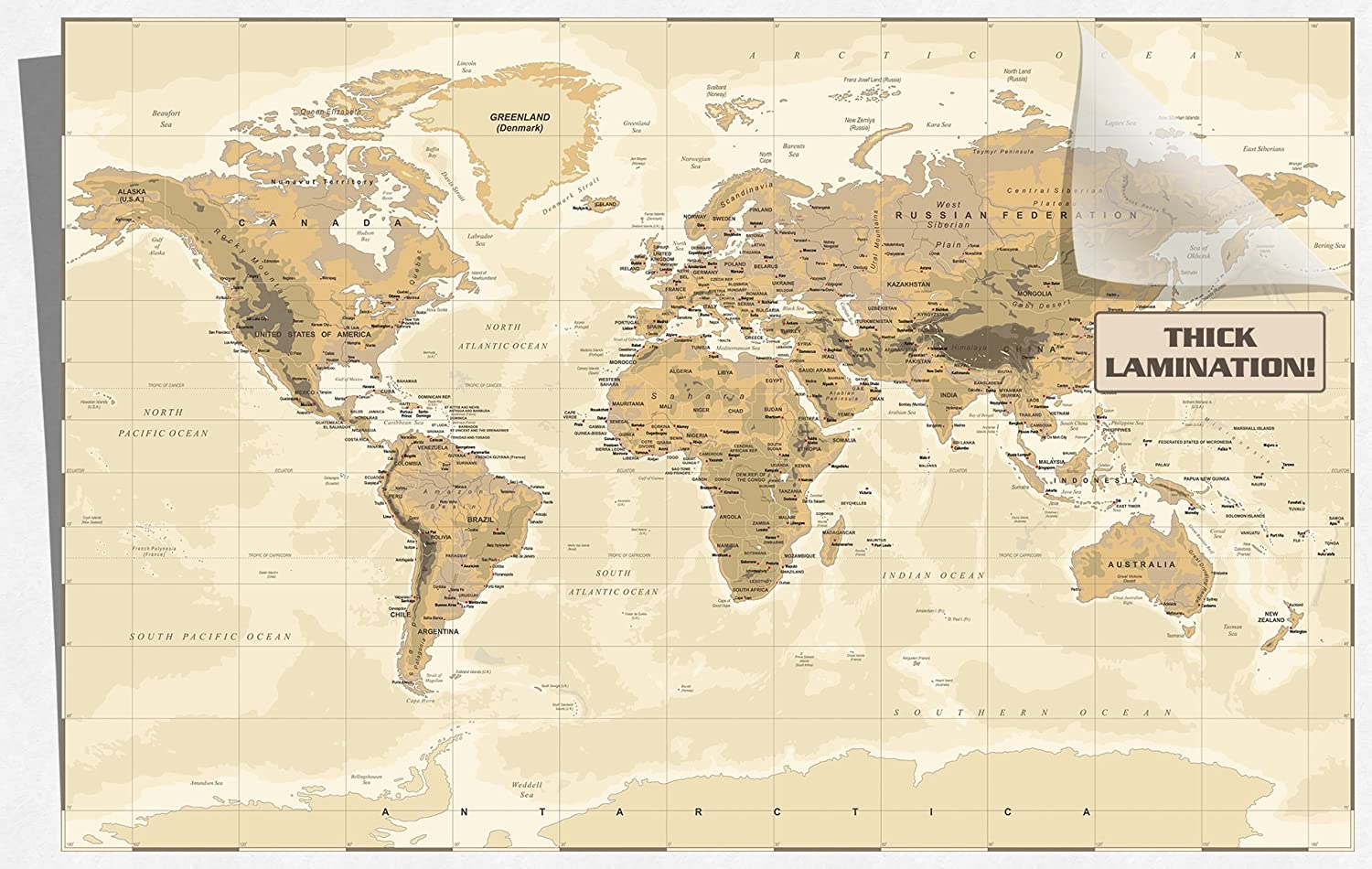"""Home Retro World Map Paper Gothic Painting Wall Chart Bar Club 28/""""x18/""""Decor Gift"""