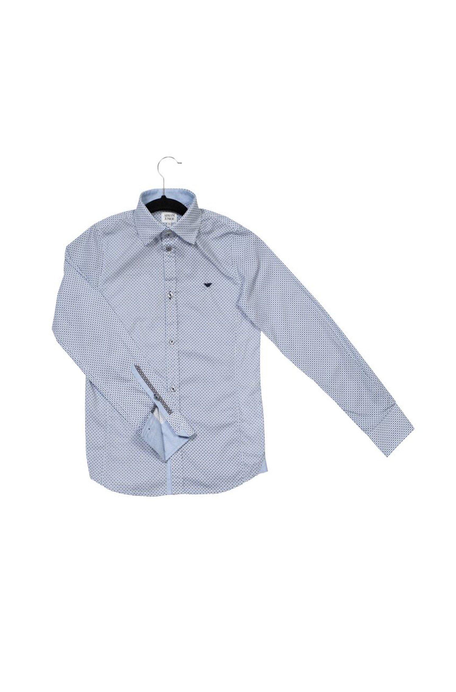 Armani Junior Boys' Dotted Pattern Button Down Shirt w/Dark Collar Contrast (Big Kids), 14 by Armani Junior (Image #1)