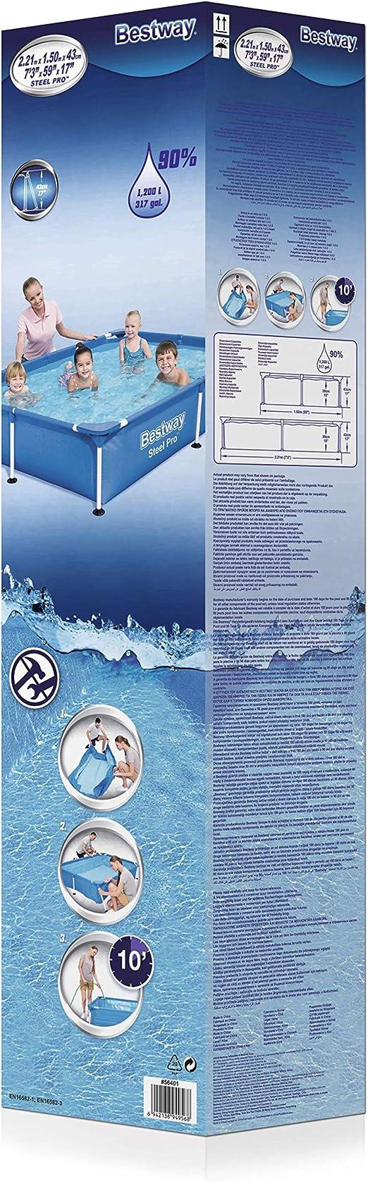 Bestway Splash Jr.Piscina Desmontable Tubular Infantil, 221 x 150 ...