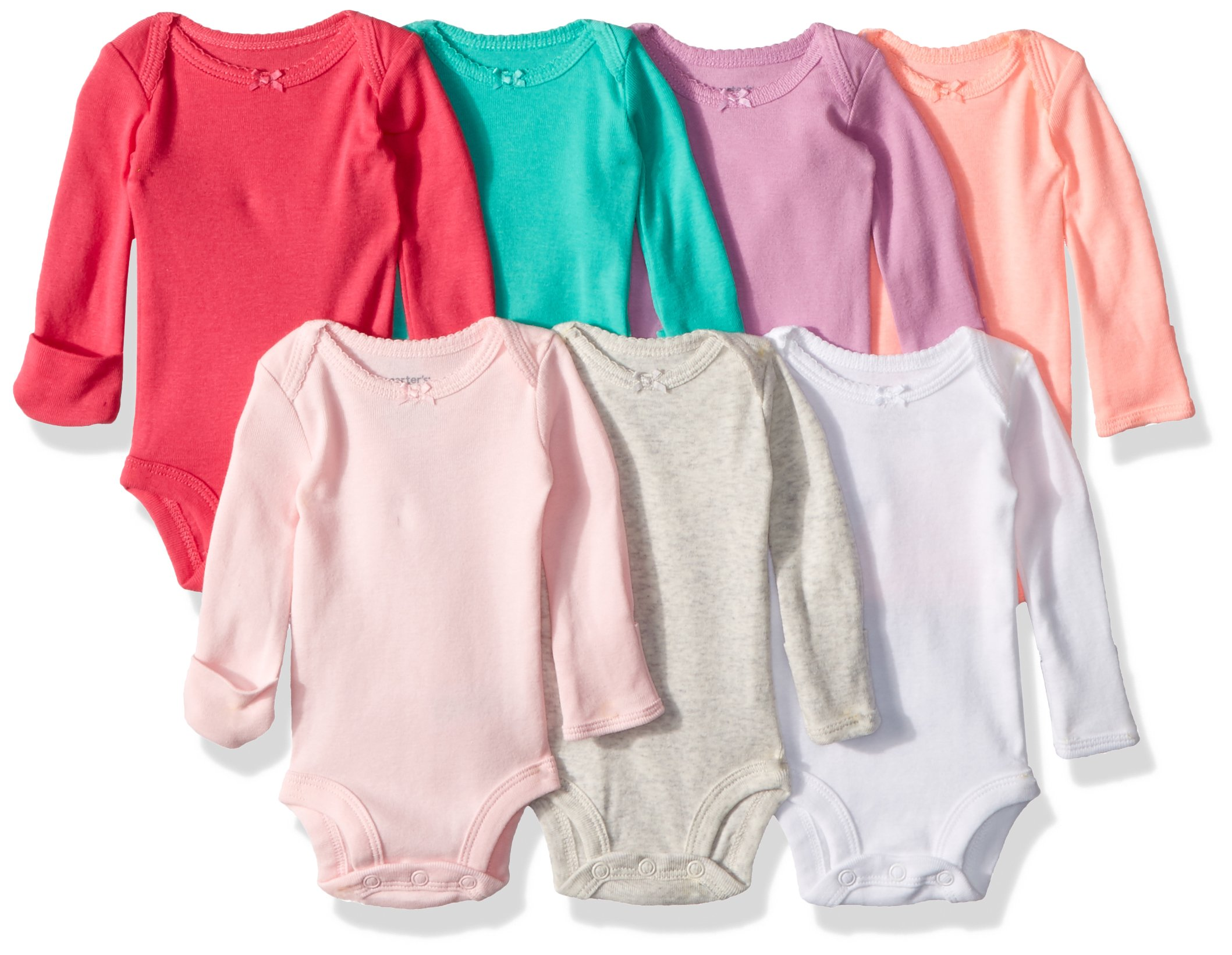 Carter's Baby 7 Pack Long Sleeve Bodysuits, Multi Peach, 3 Months