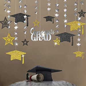 Cheerland Glitter Gold Silver 2021 Graduation Party Decoration Kit Black Cap Decor Shiny Congrats Grad Banner Star Hat Garland Streamer Banner Backdrop Background for Ceiling Home Classroom