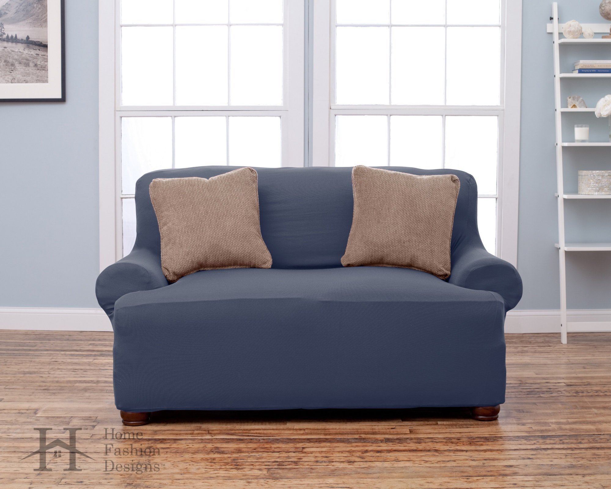 Home Fashion Designs Form Fit, Slip Resistant, Stylish Furniture Shield/Protector Featuring Lightweight Corduroy Fabric. Lucia Collection Basic Strapless Slipcover. By Brand. (Loveseat, Grey)