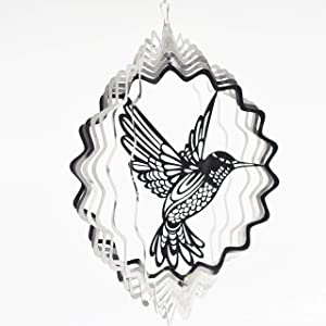 FENELY Metal Wind Spinner Outdoor, Garden Decoration,Yard Decor,Hummingbird Mandala Kinetic Hanging Whirligigs Sun Catcher Windmills for Patio and Lawn Ornaments Art