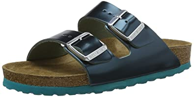 BIRKENSTOCK Damen Arizona Leder Softfootbed Pantoletten, Grün (Metallic Green), 35 EU