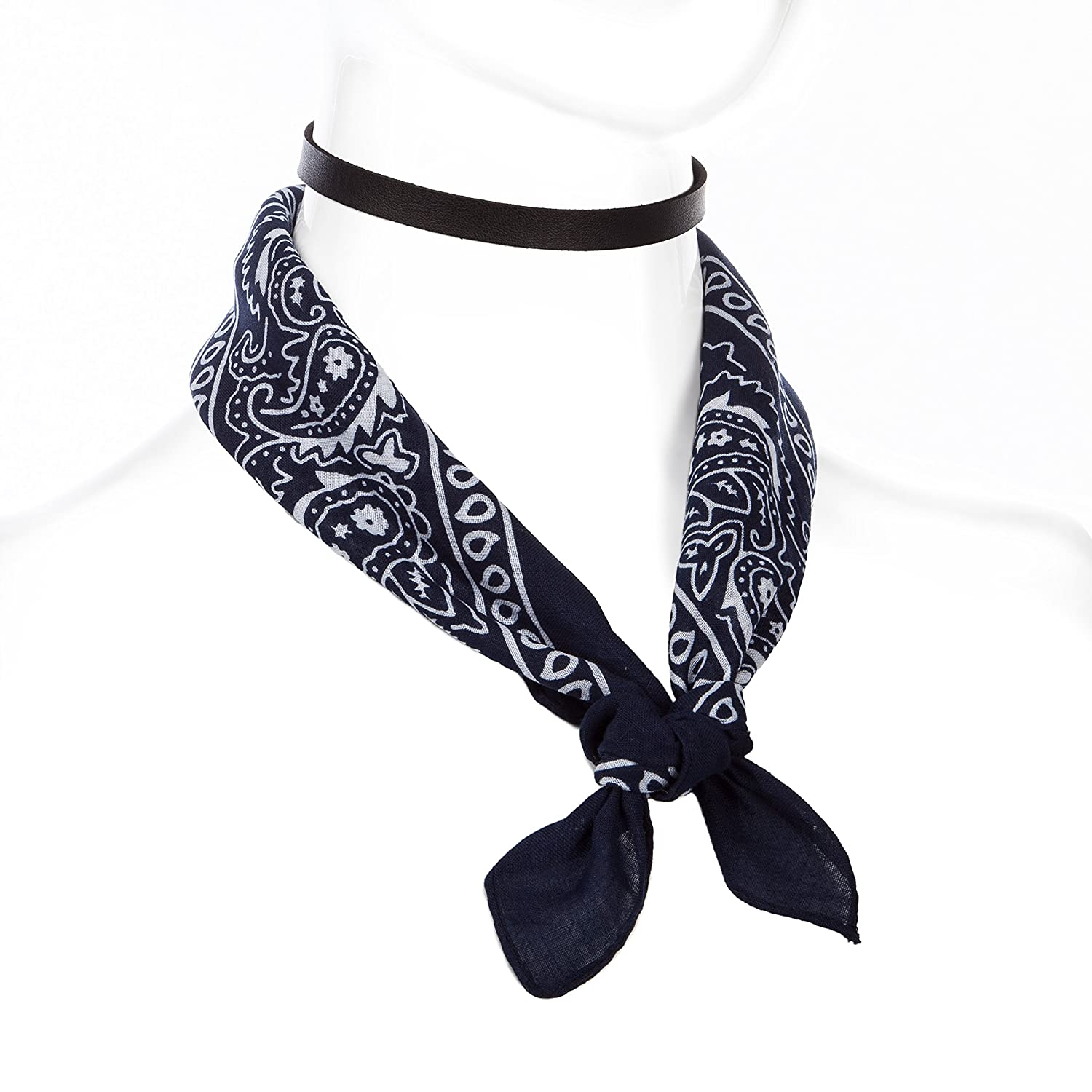 Dream Catcher 1-4 Pcs Gothic Tattoo Adjustable Choker Necklace with 1 Pcs Blue Printed Square Scarf