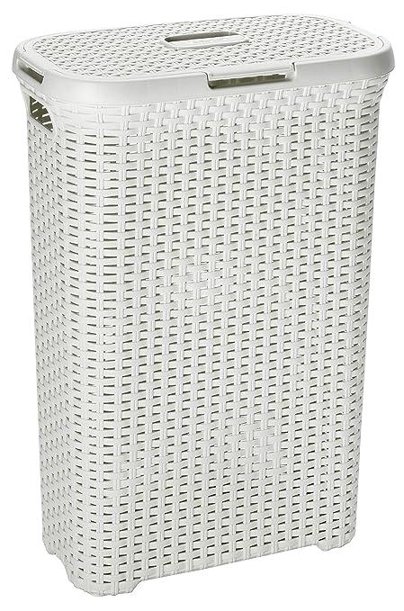 Curver 189207 - Cesta de ropa Natural Style, con tapa natural, 42.8 x 32.1