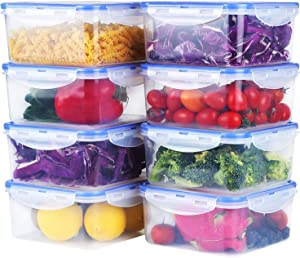 Mengico Food Containers with Lids [8 Pack, 69 Ounce] BPA-Free Food Containers Sets Leak Proof Lunch Containers Plastic Storage Containers Meal Prep