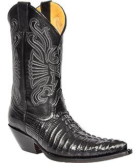 89dbd2497ddae Hommes Bottes De Cowboy en Cuir Noir Croc Glisser sur Bout Pointu Designer  Meuleuses Bottes -