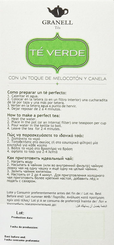 Granell Verde Melocotn y Canela T - 100 gr - [Pack de 6]: Amazon.es: Alimentación y bebidas