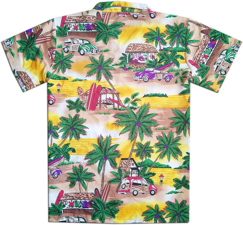 Vintage Car Virgin Crafts Hawaiian Shirt for Men Short Sleeve