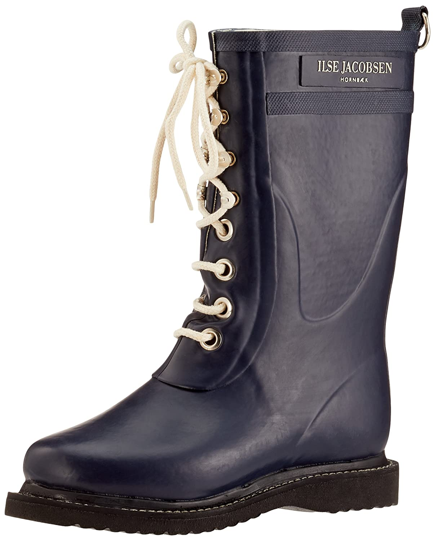Ilse Jacobsen Damen Gummistiefel   Schuhe aus 100% Natur Bio Gummi   garantiert PVC frei   3 4 Lange Stiefel mit Schnürsenkel aus 100% Baumwolle   RUB15