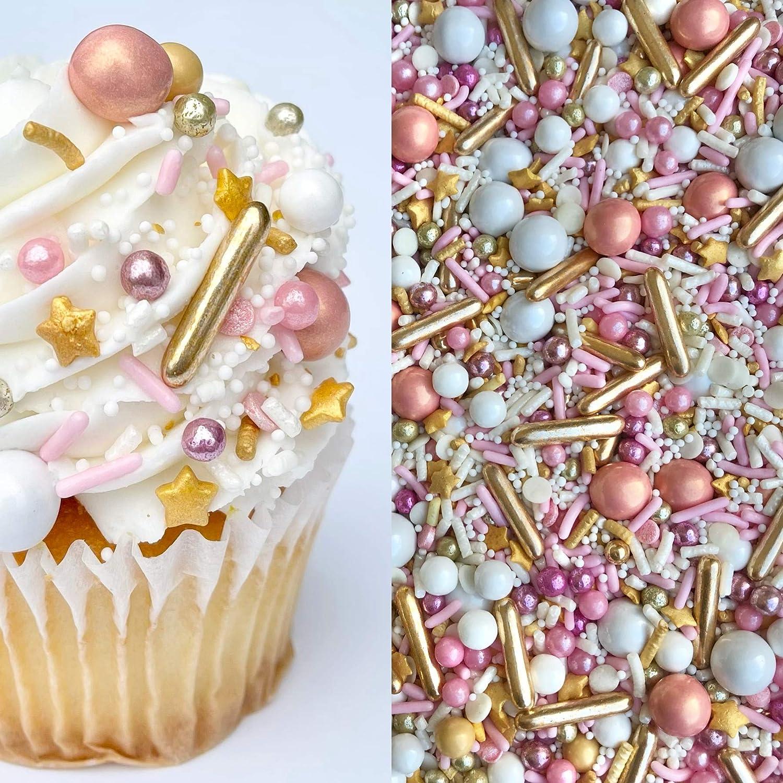 Sprinkles   Rose gold sprinkle   Pink and gold sprinkles   Sprinkle mix   Cake sprinkles   Jimmies   Cupcake sprinkles   Manvscakes