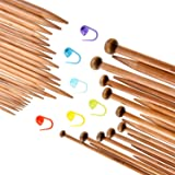 TecUnite Carbonized Smooth Bamboo Knitting Needles Set Including Double Pointed and Single Pointed and Stitch Markers Knitting Stitch Counter