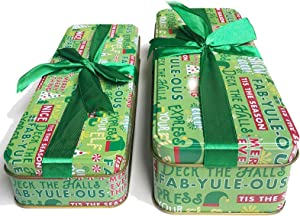 Christmas Cookie Tins with Lids For Gift Giving Empty Candy Treats Ginger Snaps Swap Containers Snack Exchange Boxes Cerebrate a Holiday Goodies Party Favors Set of 2 Green Elegant Rectangular Shape