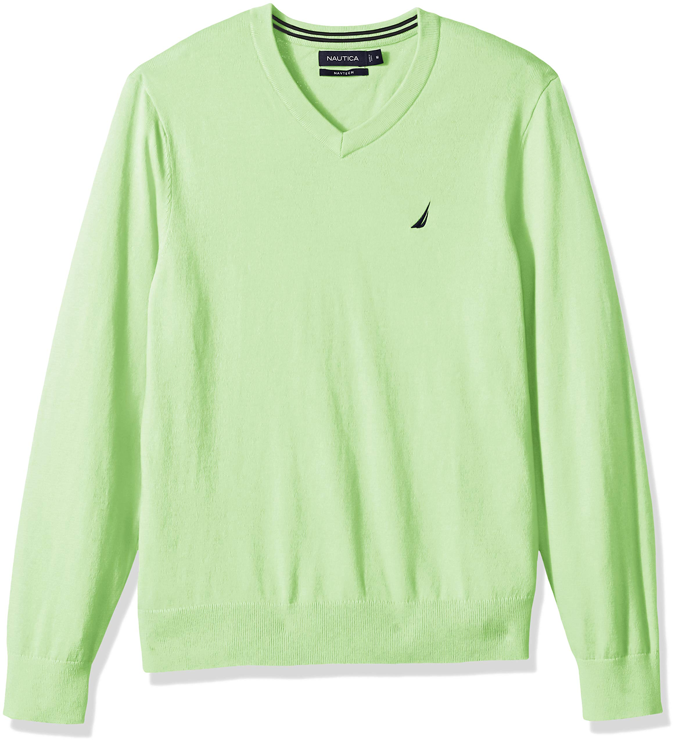 Nautica Men's Long Sleeve Solid Classic V-Neck Sweater, Patinagreen, Medium