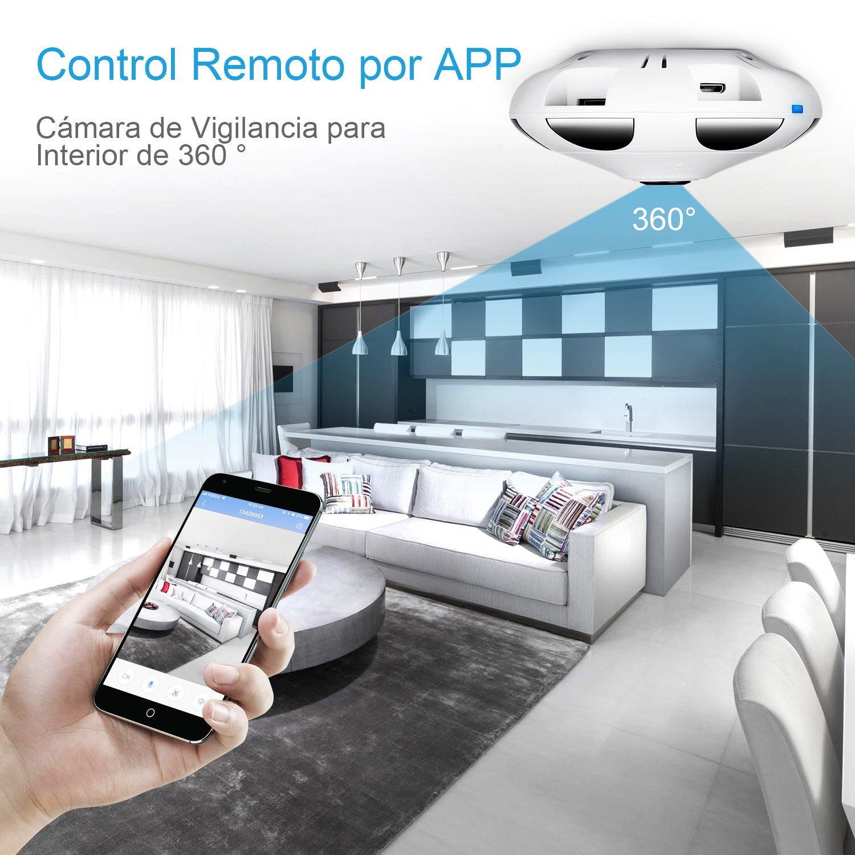 3 Millones Píxeles/1536P HD IP WiFi Cámara de Seguridad FREDI, Cámara de Vigilancia Panorámica de 360 Grados, Deteccion de Movimiento con Visión Nocturna de ...