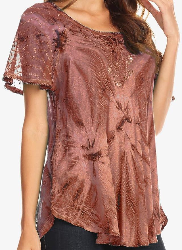 Sakkas Hana teñido anudado de Ajuste cómodo casquillo del bordado de las mangas de la blusa campesina del batik / Top: Amazon.es: Ropa y accesorios