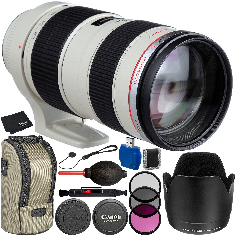 Canon EF 70 – 200 mm f / 2.8l USMレンズバンドルwithメーカーアクセサリー&アクセサリーキットfor EOS 7d Mark II、7d、80d、70d、60d、50d、40d、30d、20d、Rebel t6s、t6i、t5i、t4i、sl1、t3i、t6、t5、t3、t2i   B01D9967QY