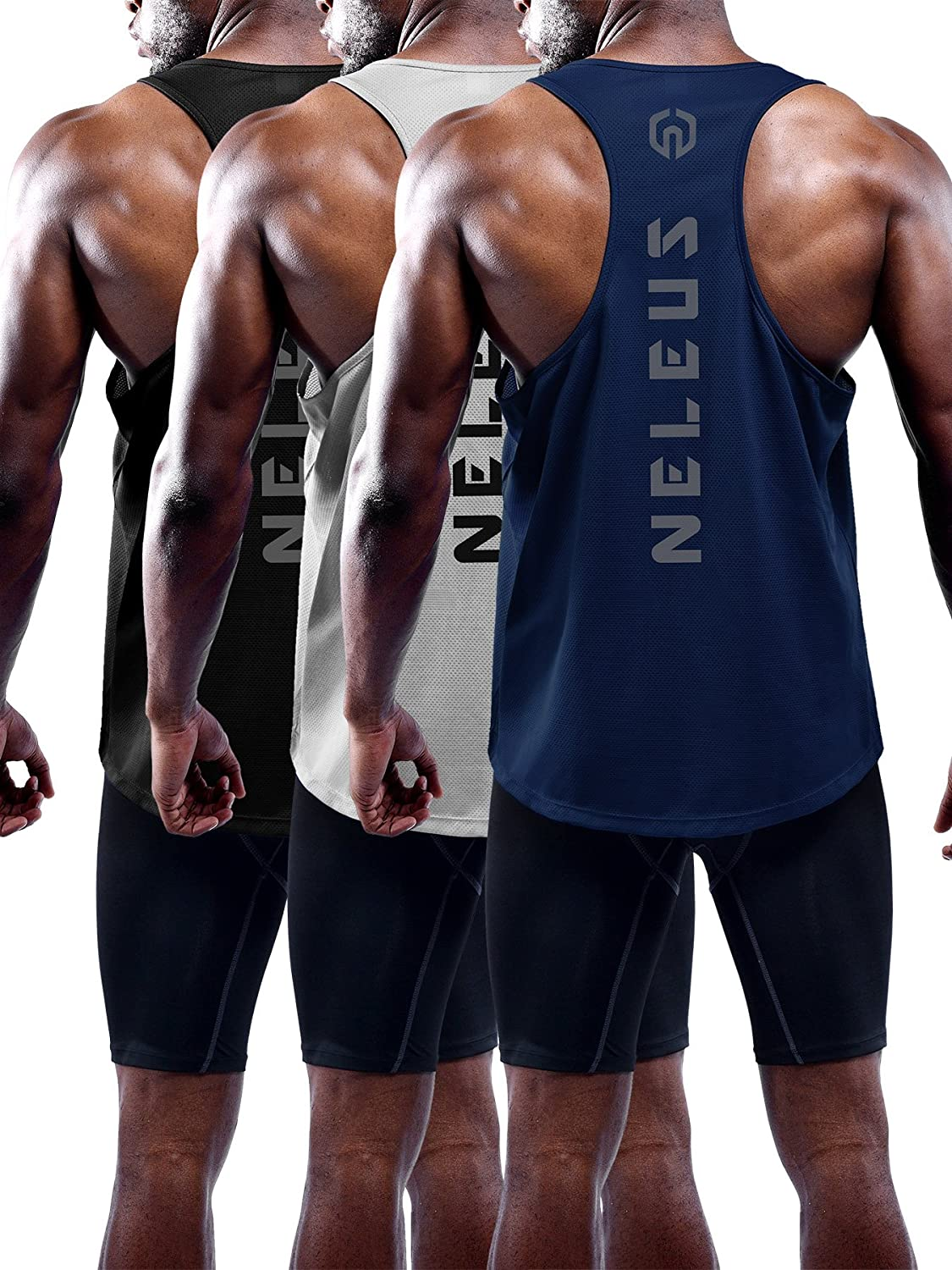 Neleus Men's 3 Pack Dry Fit Y-Back Workout Muscle Tank Top CADT5031