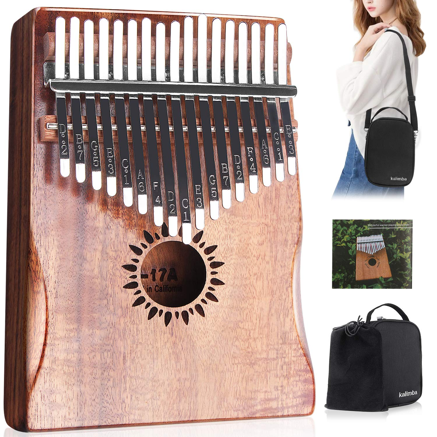 Kalimba Thumb Piano 17 Key, Portable Mbira Wood Finger Piano with 2 Bag and Sheet Music, Gifts for Kids Adult Beginners Professionals by HONHAND (Image #1)