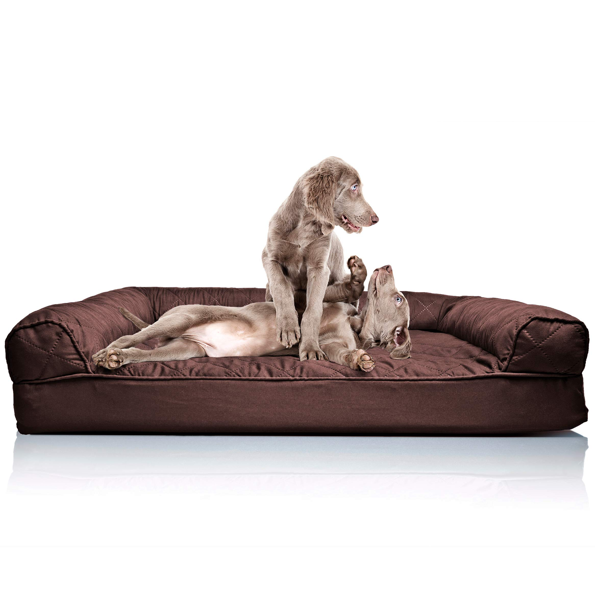 Furhaven Pet Dog Bed | Orthopedic Quilted Traditional Sofa-Style Living Room Couch Pet Bed w/ Removable Cover for Dogs & Cats, Coffee, Jumbo by Furhaven