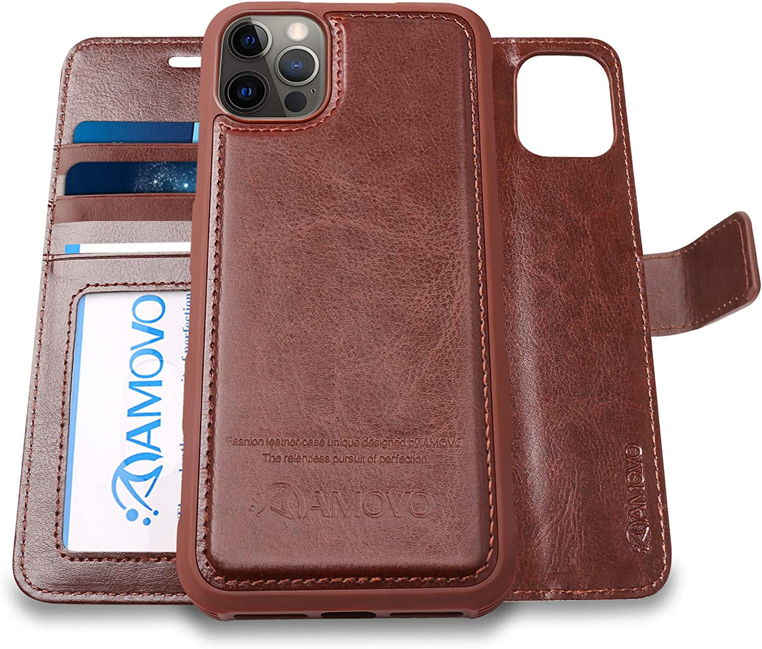 AMOVO Compatible with iPhone 12 Pro Max Case Wallet Detachable [2 in 1][Vegan Leather][Hand Strap][Card Slot][Stand Feature] Flip Folio Case Cover Compatible with iPhone 12 Pro Max (6.7'') (Brown)