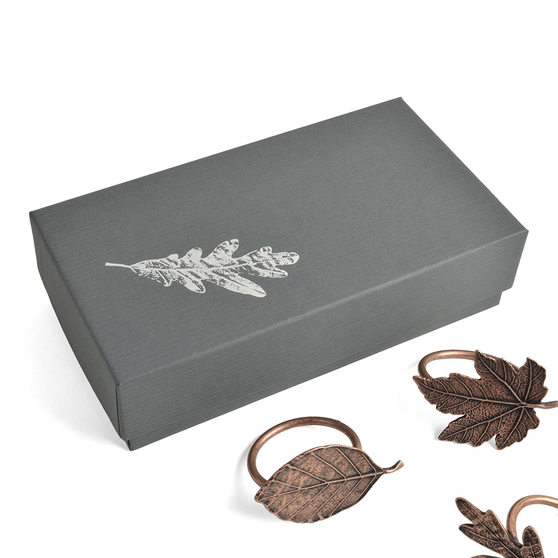 Set of 4 Vilmain Autumn Leaves Plated Pewter Napkin Rings