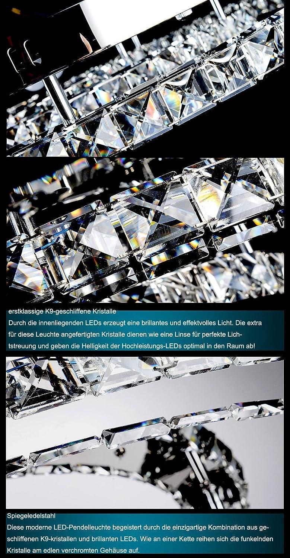 LED Deckenleuchte 6057 Luxus Design Kristall klar Chrom-Edelstahl Ringe A Neu