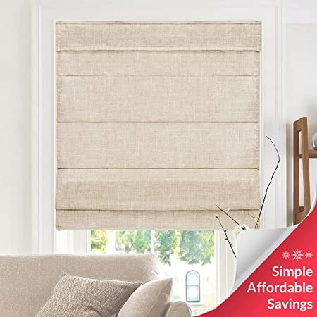 CHICOLOGY, Belgian Flax Cordless Roman Shades, 34\