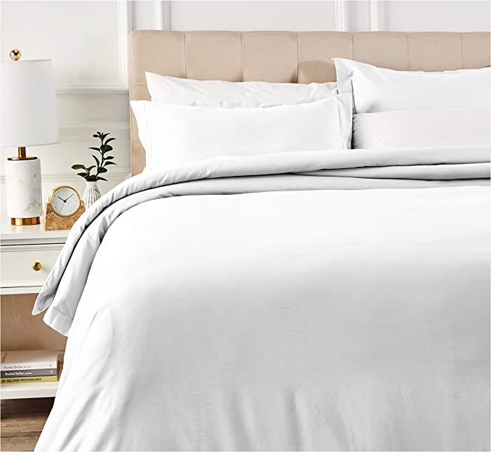 AmazonBasics 400 Thread Count Cotton Duvet Cover Set with Sateen Finish - Full/Queen, White