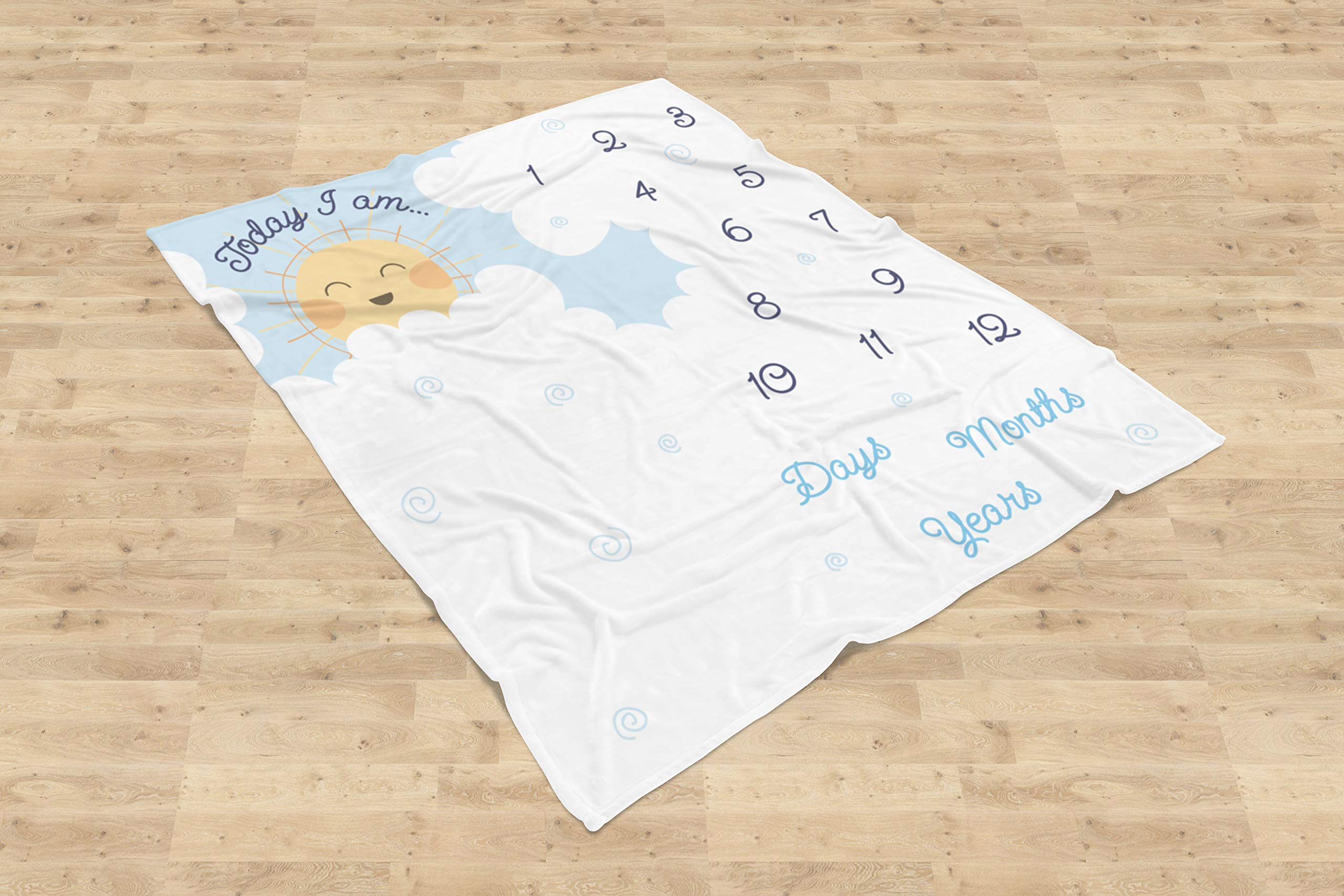 Double Sided Monthly Baby Milestone Blanket- Month Blanket for Baby Pictures | Photo Blanket with Baby Photo Props | Monthly Blankets for Newborns | Boy and Girl Milestone Blanket (White Grey Blue) by Scheuer Brand